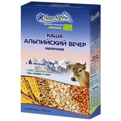 Каша Флёр Альпин Органик молочная альпийский вечер с 6 мес. (200 гр.)