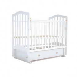 Кроватка детская ЛАУРА Лаура-2 с доп. спинкой 120*60 классическая, маят. продольный, ящик Белый
