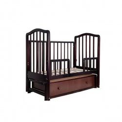 Кроватка детская ЛАУРА Лаура-2 с доп. спинкой 120*60 классическая, маят. продольный, ящик Махагон
