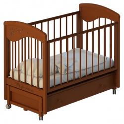 Кроватка детскя MR SANDMAN 120*60 классическая,колесо,маят. продольный,ящик,массив берёза Орех