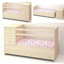 Кроватка детская БЭБИ БУМ Маруся 120*60 трансформер, комод, ящик Беленый дуб