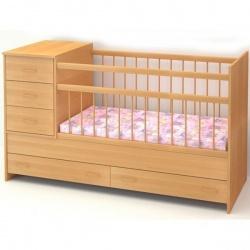 Кроватка детская БЭБИ БУМ Маруся 120*60 трансформер, комод, ящик Бук