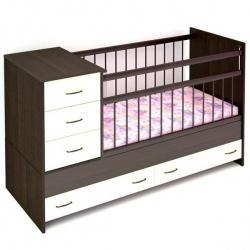 Кроватка детская БЭБИ БУМ Маруся 120*60 трансформер, комод, ящик Венге, ваниль