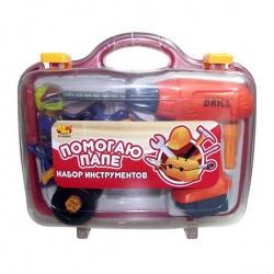Игрушка пластмассовая Помогаю Папе. Набор инструментов, 4 предмета, в чемодане, ABTOYS