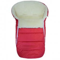 Конверт в коляску BaBy IDEA KIDS, 90х45, зима мех 100% шерсть Красный