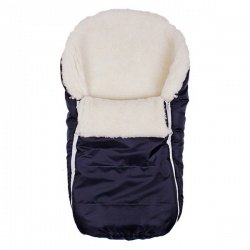 Конверт в коляску BaBy IDEA KIDS, 75х45, зима мех 100% шерсть Темно-синий