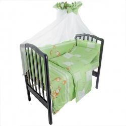 Комплект в кроватку Друзья IDEA KIDS,7 предм.,.высота борта40 см.,простынь на резинке,100 % хлопок Зеленый
