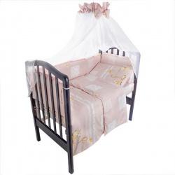 Комплект в кроватку Друзья IDEA KIDS,7 предм.,.высота борта40 см.,простынь на резинке,100 % хлопок Розовый