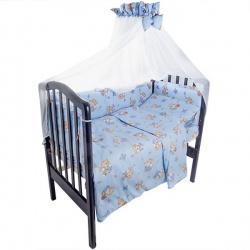 Комплект в кроватку Мишка и пчелка IDEA KIDS, 7 предм.,.высота борта 40 см., простынь на резинке Голубой