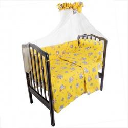 Комплект в кроватку Мишка и пчелка IDEA KIDS, 7 предм.,.высота борта 40 см., простынь на резинке Желтый