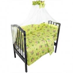 Комплект в кроватку Мишка и пчелка IDEA KIDS, 7 предм.,.высота борта 40 см., простынь на резинке Зеленый