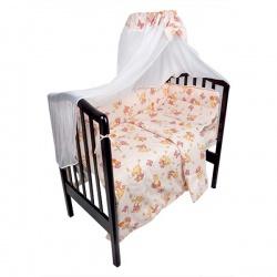 Комплект в кроватку Мишка и пчелка IDEA KIDS, 7 предм.,.высота борта 40 см., простынь на резинке Розовый