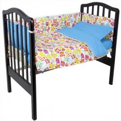 Комплект в кроватку Совы IDEA KIDS, 6 пр., высота борта30см., простынь на резинке, 100% хлопок Голубой