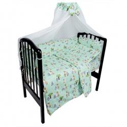 Комплект в кроватку Овечка и жираф IDEA KIDS,7предм,высота борта40 см.,простынь на резинке,100%хл Зеленый