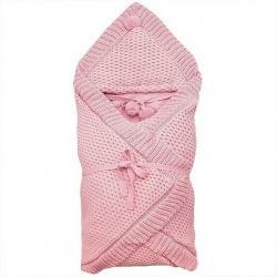 Плед-конверт вязка Рис KAPRIZA, 90*90, вязаный, акрил, подкл. хлопок, зима, пл. 300 Розовый
