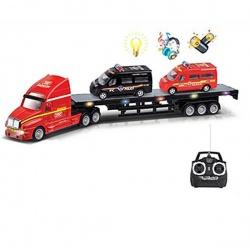 Игрушка пластмассовая Тягач с машинами, р/у, свет, звук, движение, S+S TOYS