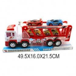 Игрушка пластмассовая машина Автовоз, 4 машины, инерционная, SHANTOU GEPAI
