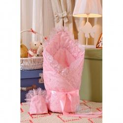 Одеяло-конверт на выписку Бабочки АРГО, 90х90,сатин, зима, синтепон пл.300 Розовый
