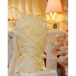 Одеяло-конверт на выписку Бабочки АРГО, 90х90,сатин, зима, синтепон пл.300 Шампань