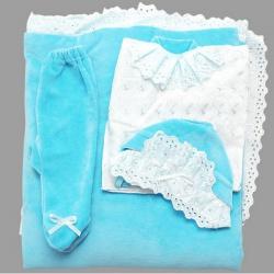 К-т Светлячок ГРАЧ,с одеялом велюр+трикотаж, 7 пр., весна-осень Бирюза
