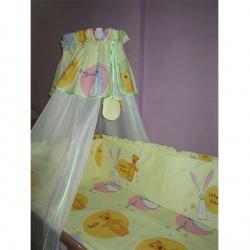 Комплект в кроватку Маленькие друзья ЛУНЯШКИ, 7 пр простынь на резинке, 100% хлопок Бежевый