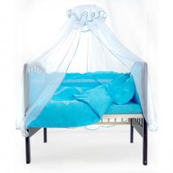 Комплект в кроватку Восторг ЛУНЯШКИ, 7 пр простынь на резинке, 100% хлопок Голубой