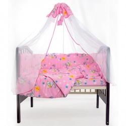 Комплект в кроватку Зайчата ЛУНЯШКИ, 7 пр, 100% хлопок Розовый