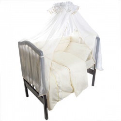 Комплект в кроватку Светик ЛУНЯШКИ, 7 пр простынь на резинке, 100% хлопок Бежевый