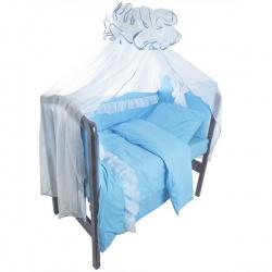 Комплект в кроватку Светик ЛУНЯШКИ, 7 пр простынь на резинке, 100% хлопок Голубой