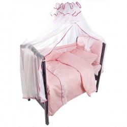 Комплект в кроватку Светик ЛУНЯШКИ, 7 пр простынь на резинке, 100% хлопок Розовый