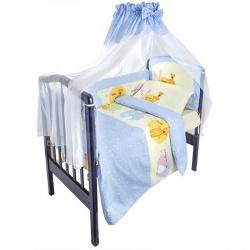 Комплект в кроватку Маленькие друзья ЛУНЯШКИ, 7 пр простынь на резинке, 100% хлопок Голубой