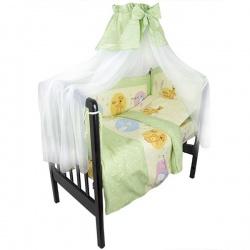 Комплект в кроватку Маленькие друзья ЛУНЯШКИ, 7 пр простынь на резинке, 100% хлопок Зеленый