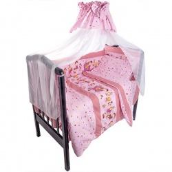Комплект в кроватку Сюрприз ЛУНЯШКИ, 7 пр, наполнитель бамбуковое волокно, 100% хлопок Розовый