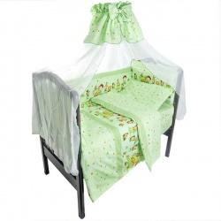 Комплект в кроватку Сюрприз ЛУНЯШКИ, 7 пр, наполнитель бамбуковое волокно, 100% хлопок Зеленый