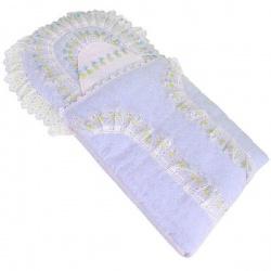 Комплект на выписку МАРГАРИТА, 3 предм., шитье, цветное кружево, весна-осень, синтепон, пл.200 Голубой