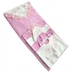 Комплект на выписку МАРГАРИТА, 8 предм., шитье, цветное кружево, весна-осень, синтепон, пл.200 Розовый
