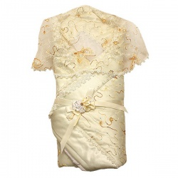 Одеяло-конверт МАРГАРИТА, из атласа с накидкой, отделка и кружево органза, зима, синтепон пл.300 Шампань