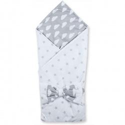 Одеяло-конверт МАРГАРИТА, 100 % хлопок, пояс на резинке, весна-осень, синтепон,пл. 200 Бело-серый
