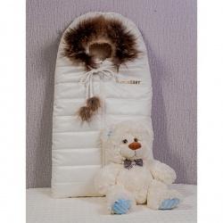 Конверт в коляску Baby МАРГАРИТА, зима, мех, дюспо, синтепон, пл. 300 Белый