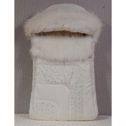 Конверт в коляску Стразы МАРГАРИТА, зима, мех, дюспо, синтепон, пл. 300 Белый