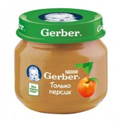 Пюре Гербер только персик с 4 месяцев, 80 г.