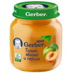 Пюре Гербер только яблоко и персик с 5 месяцев, 130 г.