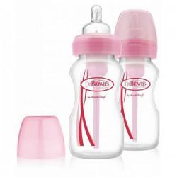 Dr.Brown Бутылочка с широким горлышком Options (розовая) 270 мл, (2 шт.)