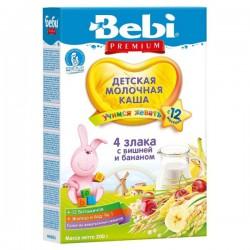 Беби Premium Каша молочная 4 злака с вишней и бананом с 12 месяцев, 200 г.