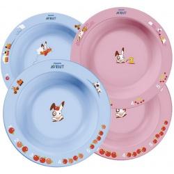 Avent Набор из 2-х глубоких тарелок, голубая или розовая