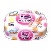 Merries Влажные салфетки в контейнере 54 шт (розовые) с рождения