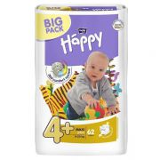 Подгузники Bella Happy 4+ maxi plus 9-20 кг(62 шт)