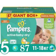 PAMPERS Подгузники Active Baby Dry Junior (11-18 кг) Малая Мега Упаковка 87